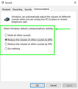 Windows Detects Communications Activity Options