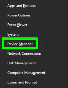 Device Manager option