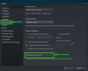 Clear Download Cache option